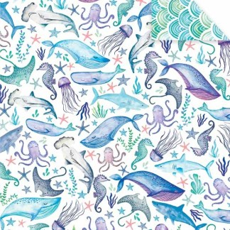 Sea Whales blue gift wrap