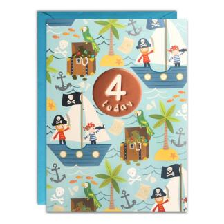 Age 4 Pirates Birthday Card