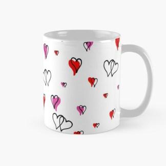 Pink and red hearts mug