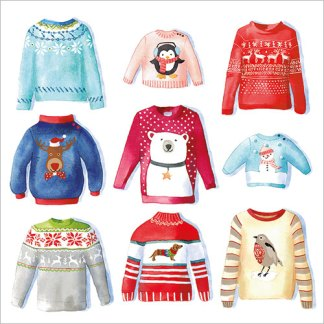 Nine Christmas Jumpers Christmas Cards