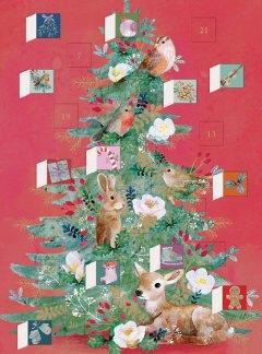 Woodland Christmas Tree Advent Calendar Card