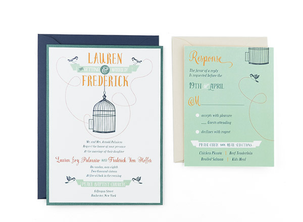 Bird Cage Free Wedding Invitation Template