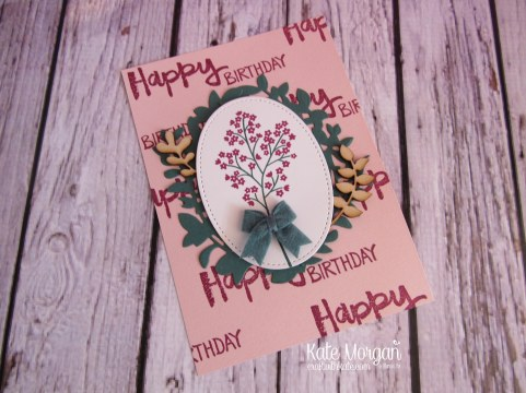Beautiful Bouquet & Paint Play stamp sets, Lovely Laurel Thinlits, Touches of Nature Elements, Stitched Shapes Framelits, Bitty Bows by Kate Morgan, Independent Stampin Up Demonstrator A