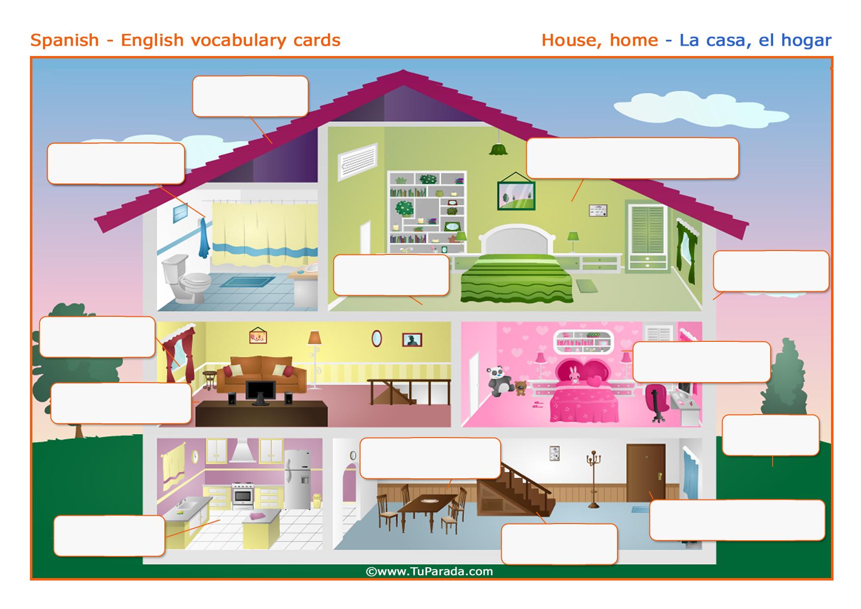 Vocabulario La Casa The House Imprimir Vocabulario