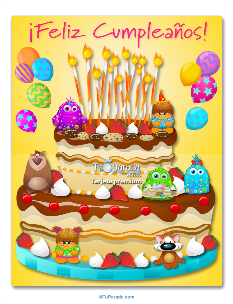 Torta Gigante De Feliz Cumpleaos Saludos Gigantes Tarjetas