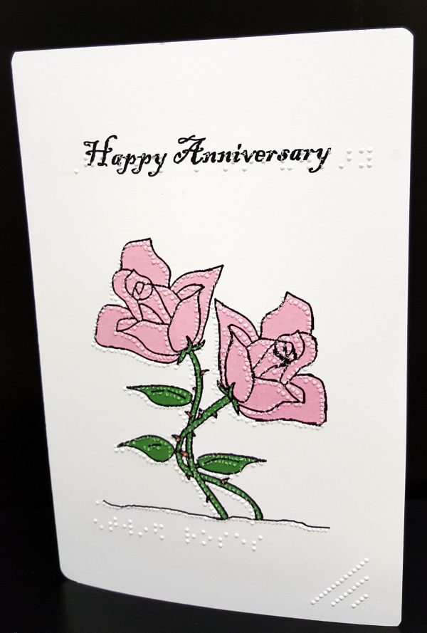 Pink Roses Anniversary Card Outside