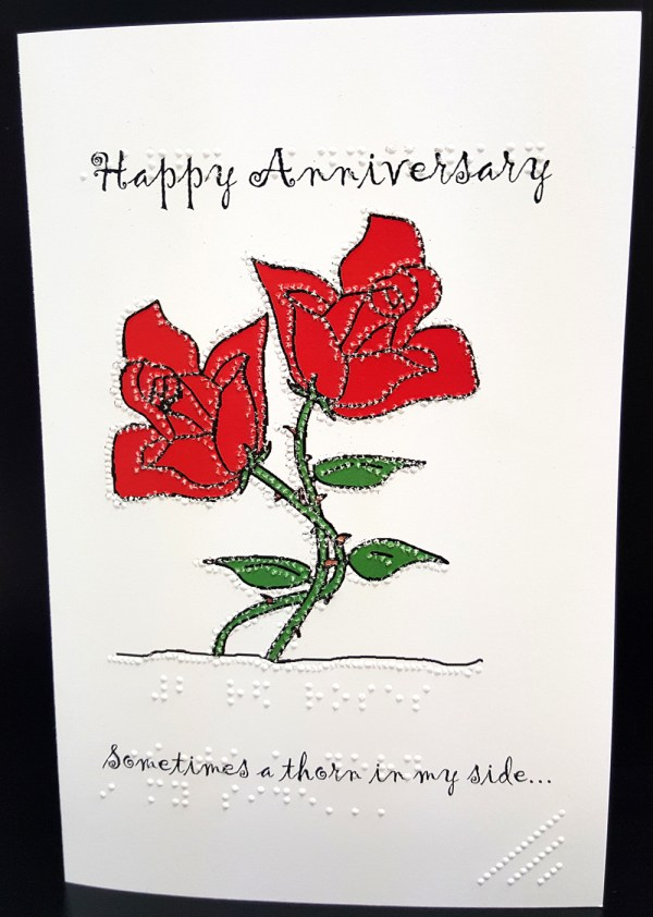 Red Roses Anniversary Card Outside
