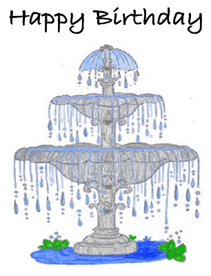Fountain Birthday Card