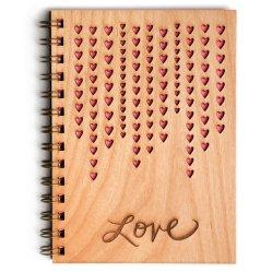 Love raining hearts wood journal