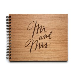 mr and mrs wedding guestbook made of wood