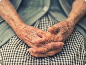Elderly wrinkled hands in the lap