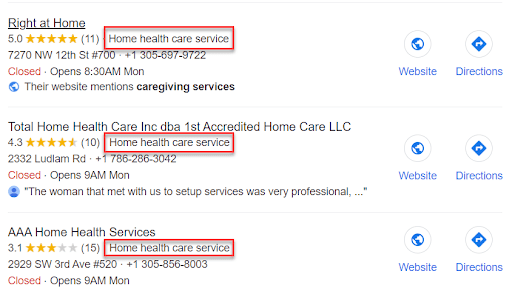 Home Care Categories Google My Business