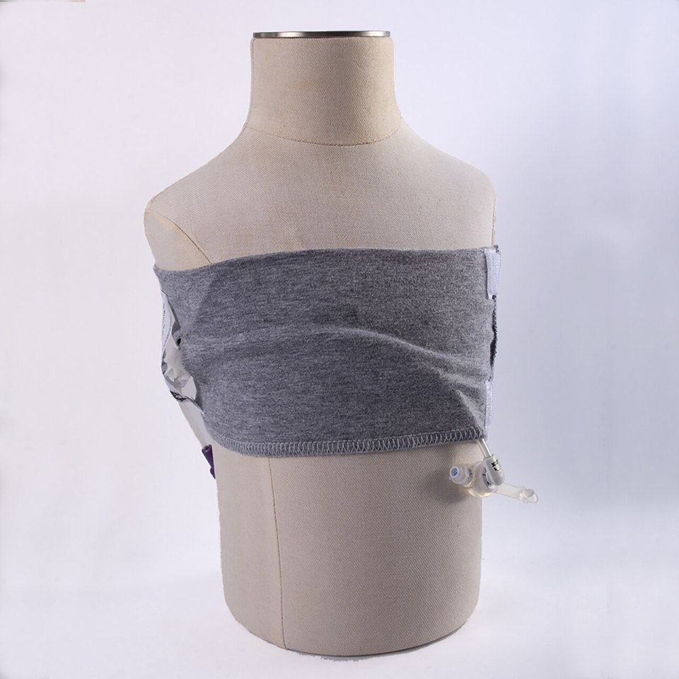 Wearing the CareAline wrap for a feeding tube (Gtube)