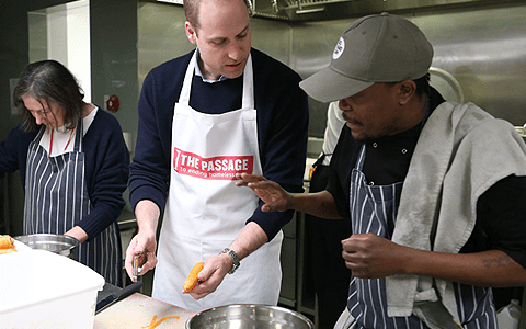 Prince William serves up lunch as he takes on role as patron on homeless charity