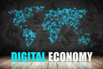 Digital Economy word on wood floor with dollar sign and dot world map on blackboard wall,Digital business concept.