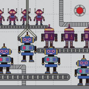 vector image of robots on a production line