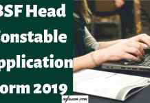 BSF Head Constable Application Form 2019 Aglasem
