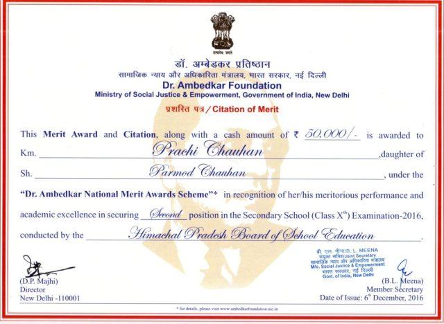 Merit by Dr. Ambedkar Foundation