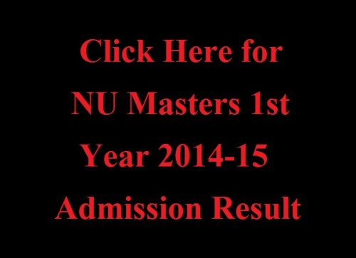 NU Masters 1st Year 2014-15 Admission Result