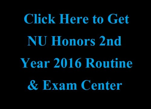NU Honors 2nd Year 2016 Routine Exam Center