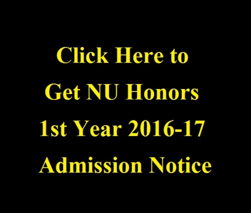 NU Honors 1st Year 2016-17 Admission Notice