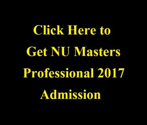NU Masters Professional 2017 Admission Notice