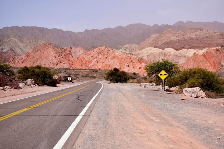 Quebrada del Rio de las Conchas between Salta and Cafayate is a winding road through ancient red rock formations