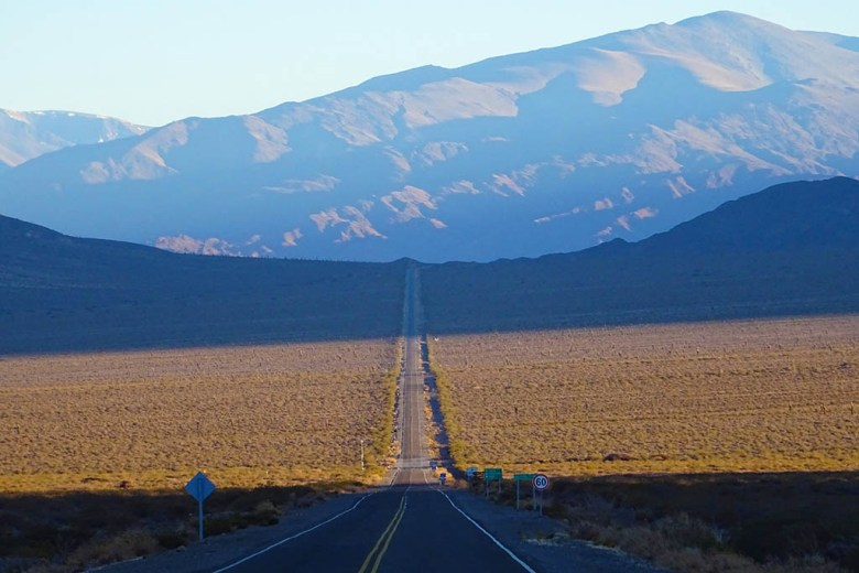 Recta Del Tin Tin is a famous stretch of road near Cachi in northern Argentina