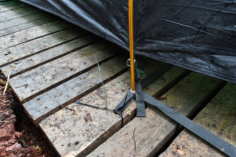 Cables ties came to our rescue when we needed to pitch our tent on wooden platforms