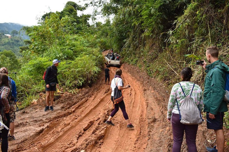 Stuck in a muddy rut in our four-wheel drive