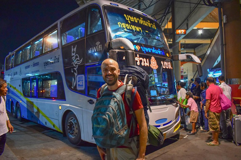 Just about to board an overnight bus from Bangkok to Chiang Mai, Thailand