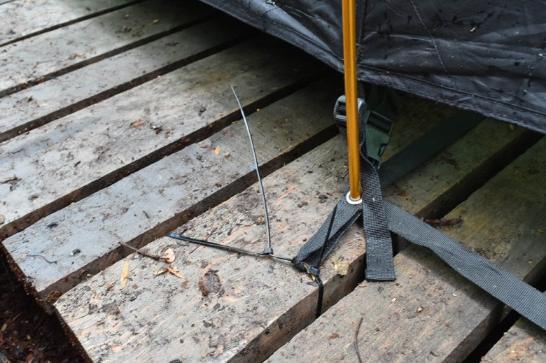 Cable ties rescued us when confronted with wooden-platform tent pitches