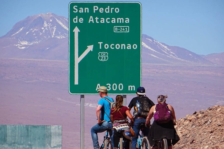 We hired bicycles in San Pedro de Atacama to explore the surrounding desert scenery