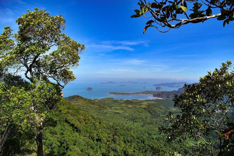 The views across Thai countryside and coastline part-way up the trail