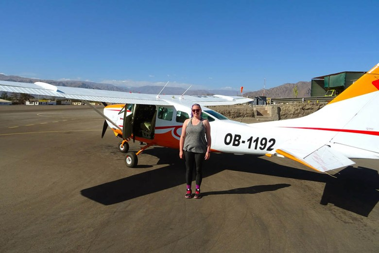 Lisa outside the plane after our Nazca Lines flight