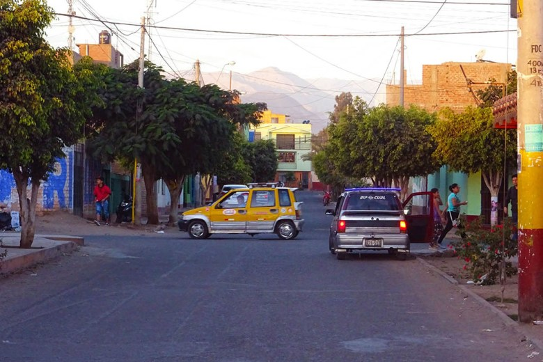 The streets of Nazca against a desert backdrop