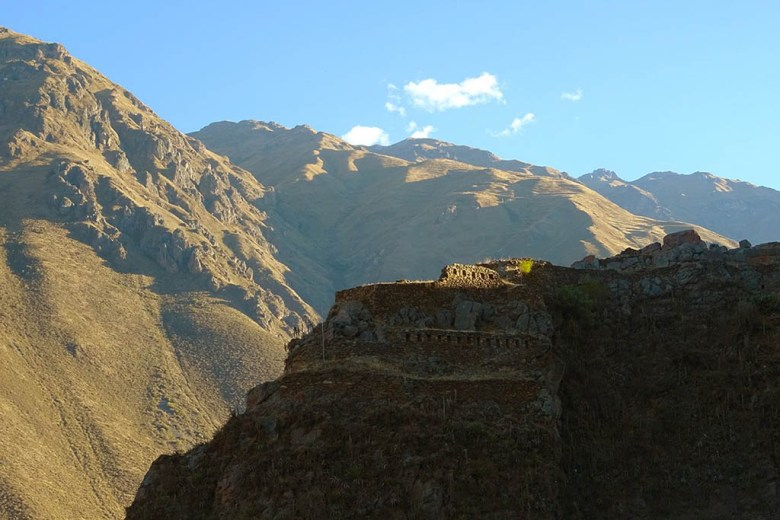 The ruins of an Inca temple and fortress at the village of Ollantaytambo