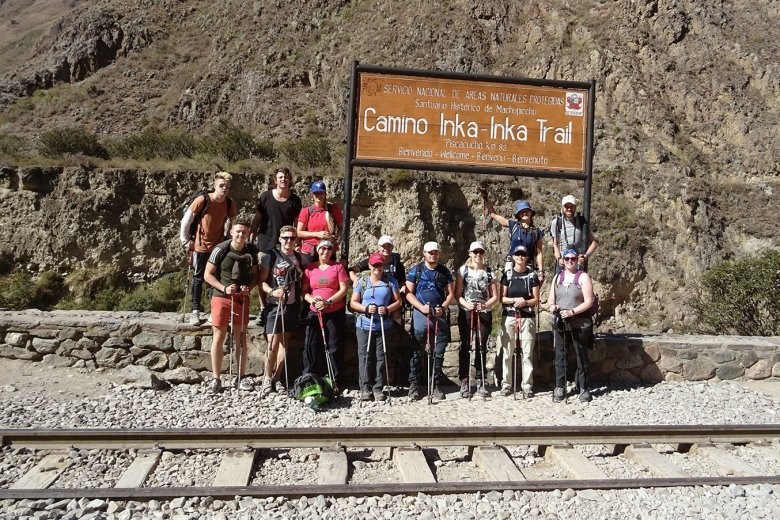 Inca warriors: our Inca Trail team at the beginning of the trek