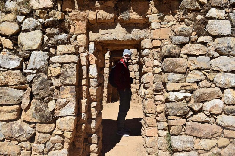 Exploring the Palace of the Inca ruins on Isla Del Sol, Lake Titicaca Bolivia
