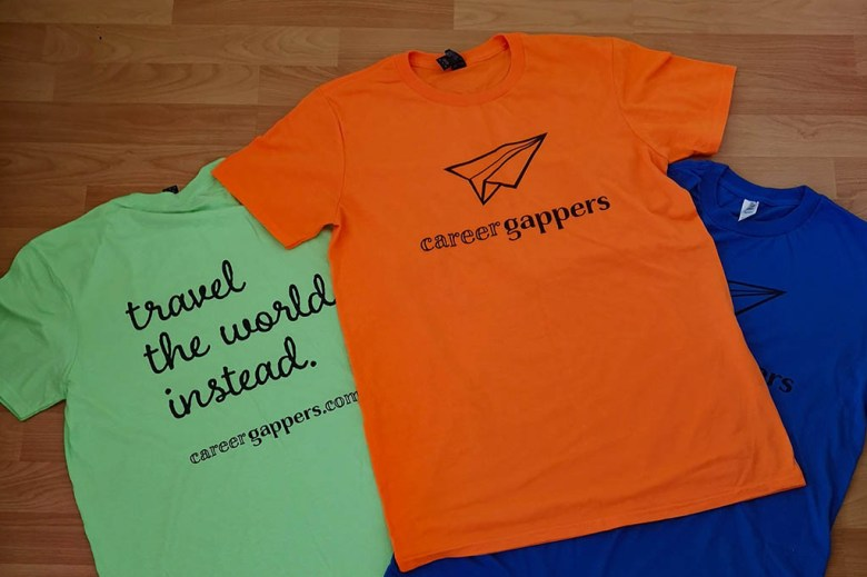 My Career Gappers branded t-shirts for the TBEX conference