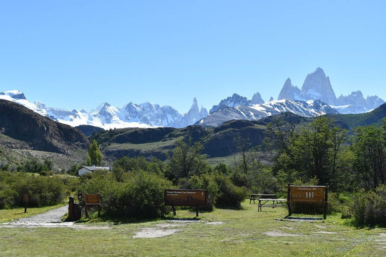 The peaks of Cerro Torre and Mount Fitz Roy, seen in the distance here, are the iconic images of El Chaltén