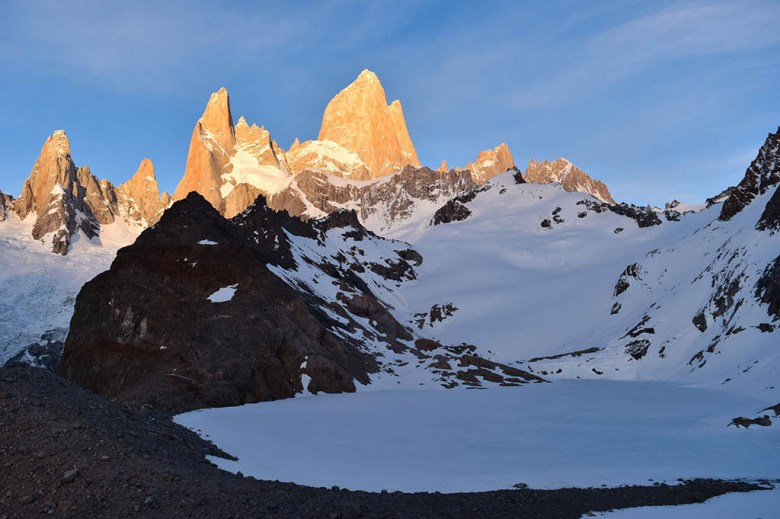 Mount Fitz Roy at sunrise from Laguna de los Tres is one of Patagonia's most photographed landmarks