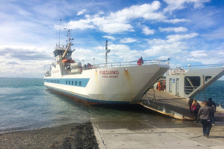 The bus journey from Ushuaia to Punta Arenas is partially broken up by a ferry transfer across the Magellan Strait