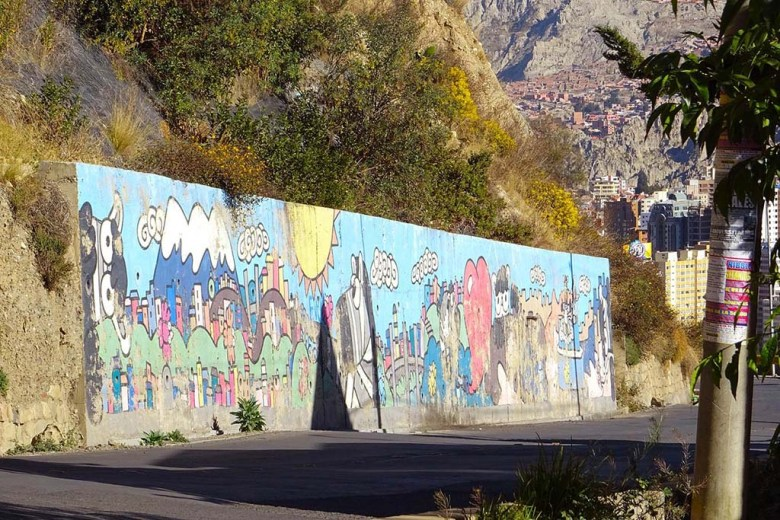 A giant mural near Mirador Killi Killi, La Paz
