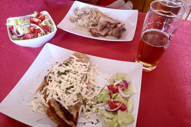 Traditional Slovakian food in Viecha U Sedliaka, one of our favourite places to eat in Bratislava