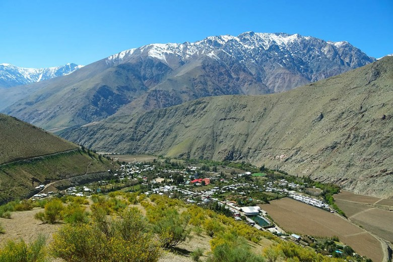 The view of Pisco Elqui from the lookout point to the west of the village