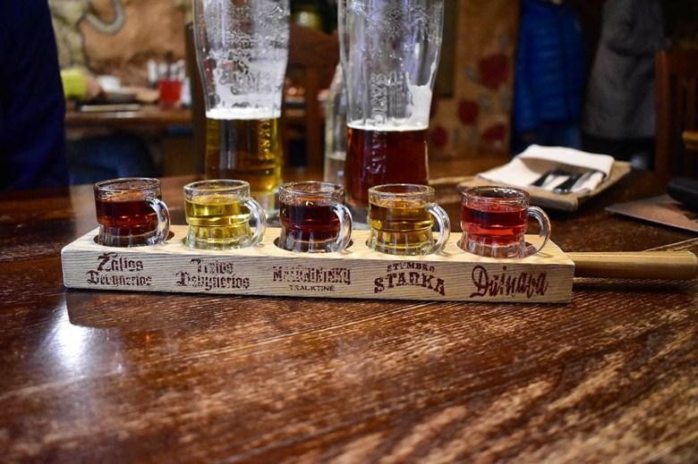 Many Vilnius restaurants serve tasting samples of Lithuanian liqueurs and spirits