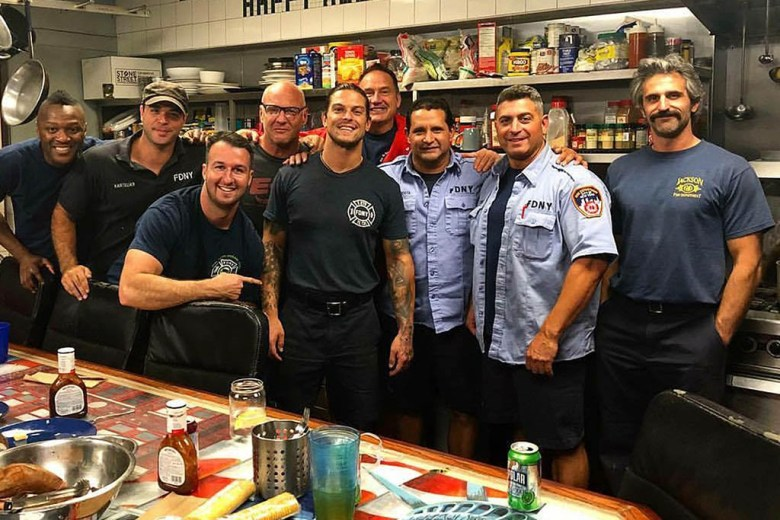 Mike Biserta with New York City Fire Department colleagues on his last day before taking a travel career break