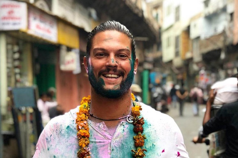 Mike at the Holi Festival of Colours during his travels