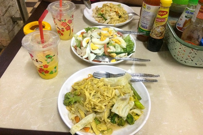 The main road in Vang Vieng has an array of local restaurants serving Lao food